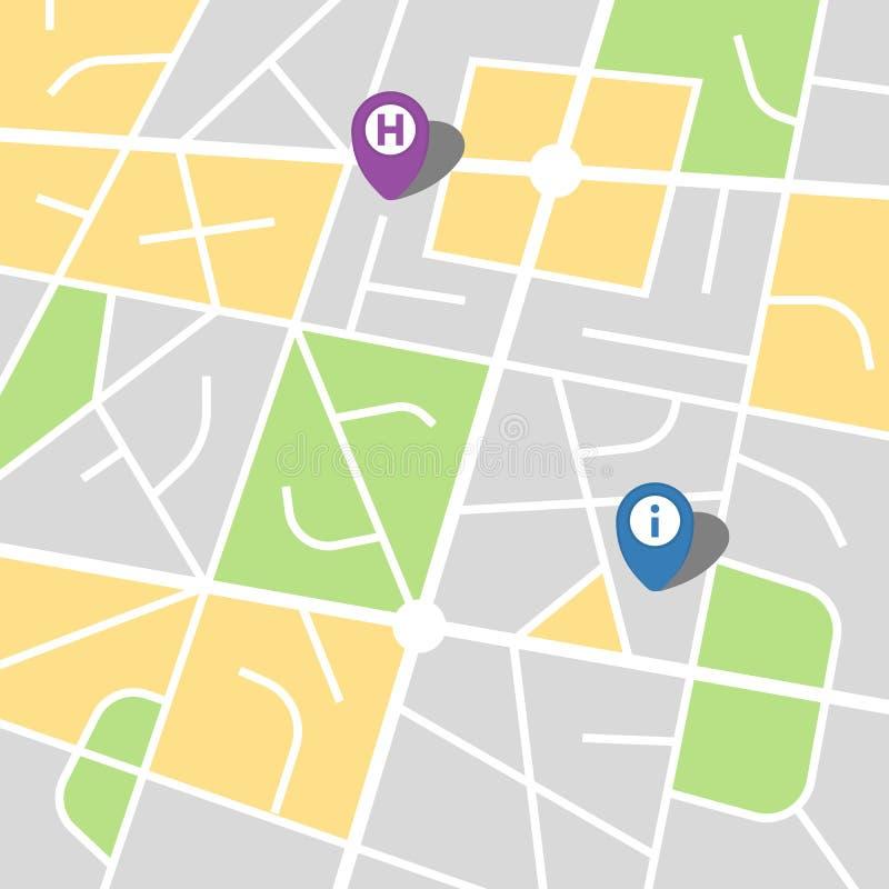 Stadsöversikt av en imaginär stad med två ben royaltyfri illustrationer