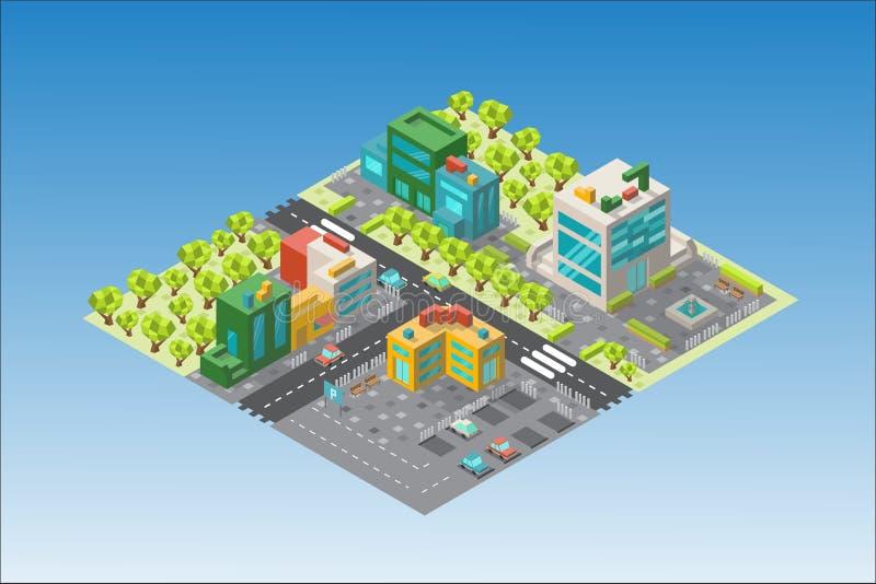 Stadsöversikt med byggnader och träd i det isometriskt vektor illustrationer