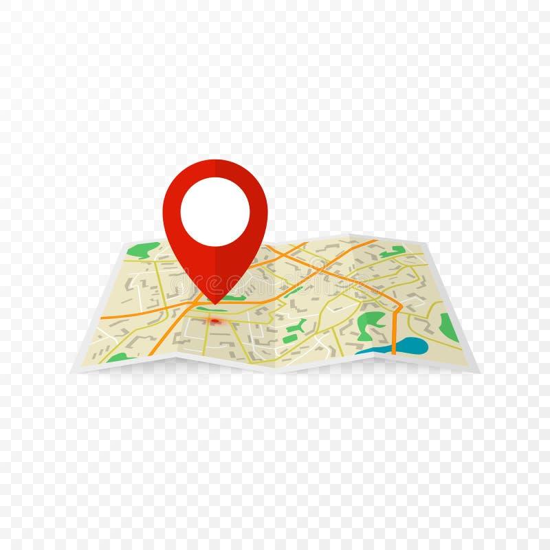 Stadsöversikt med det röda markörstiftet Abstrakt stadsöversiktsdesign Vektorillustration i plan design som isoleras på genomskin royaltyfri illustrationer