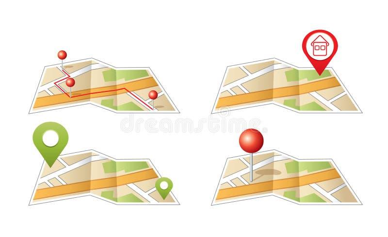 Stadsöversikt med GPS symboler. royaltyfri illustrationer