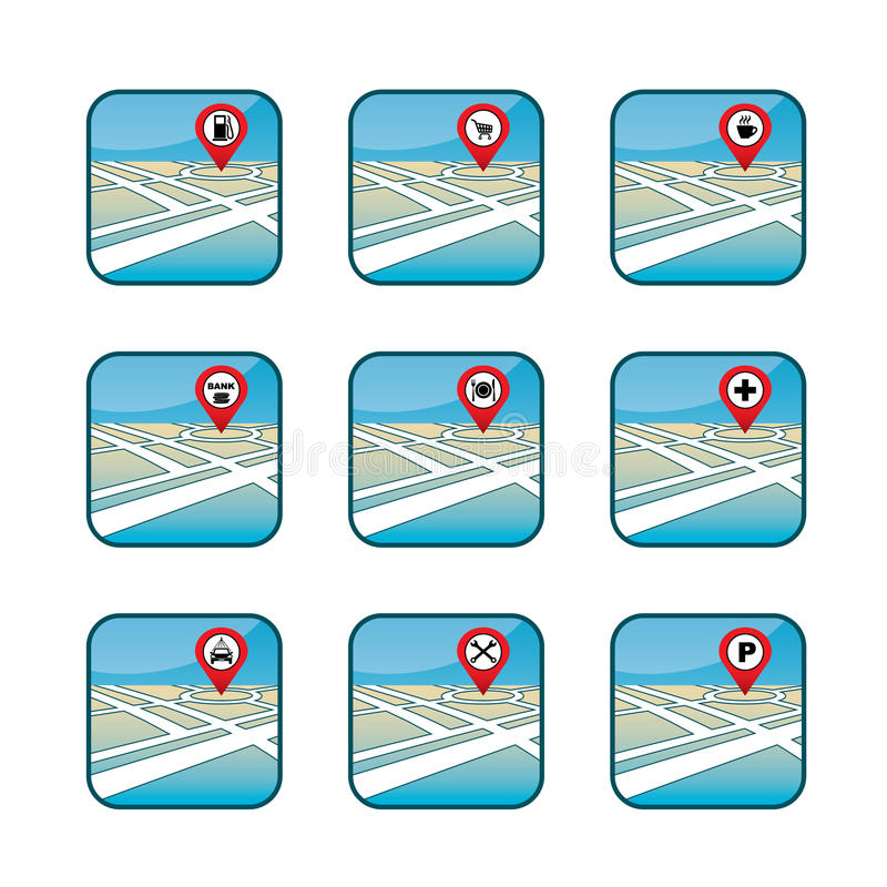 Stadsöversikt med GPS symboler royaltyfri illustrationer