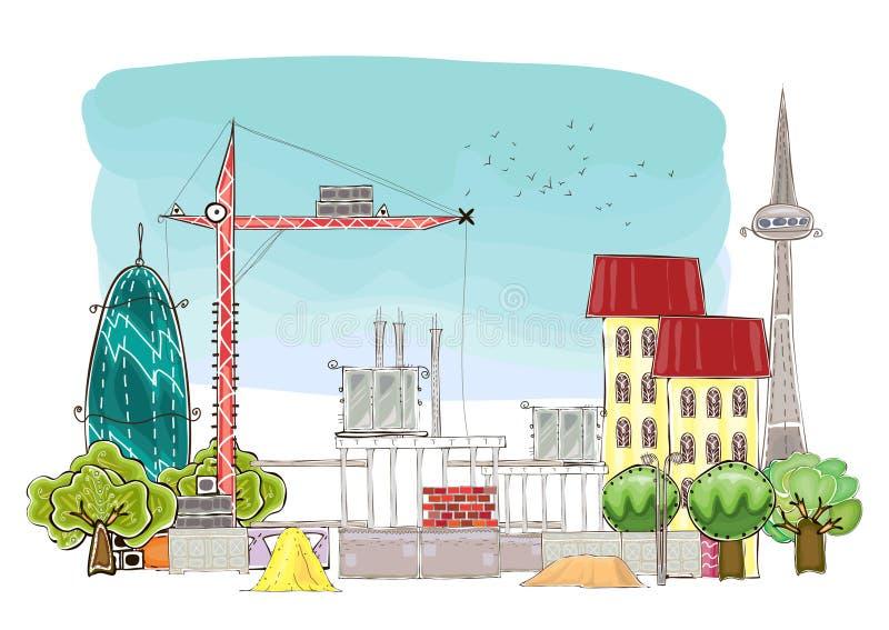 Stads achtergrond wuth bouwterrein en kranen royalty-vrije illustratie