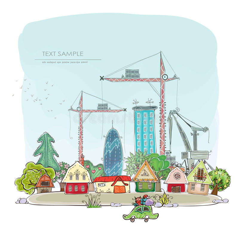 Stads achtergrond wuth bouwterrein en kranen stock illustratie