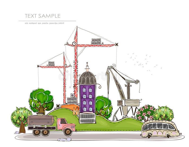 Stads achtergrond wuth bouwterrein en kranen vector illustratie