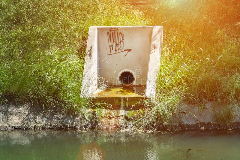Stads- avloppsnät, smutsigt grönt vatten, ekologisk katastrof, oren sjö royaltyfri foto