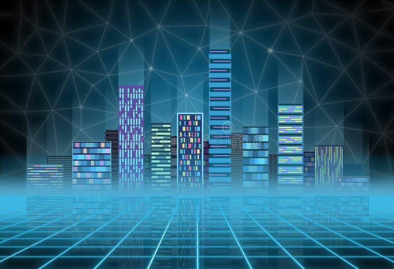 Stads- bakgrund: futuristisk högteknologisk stad i neonglöd Synthwave, retrowave, abstrakt metropolis och urinnevånare royaltyfri illustrationer