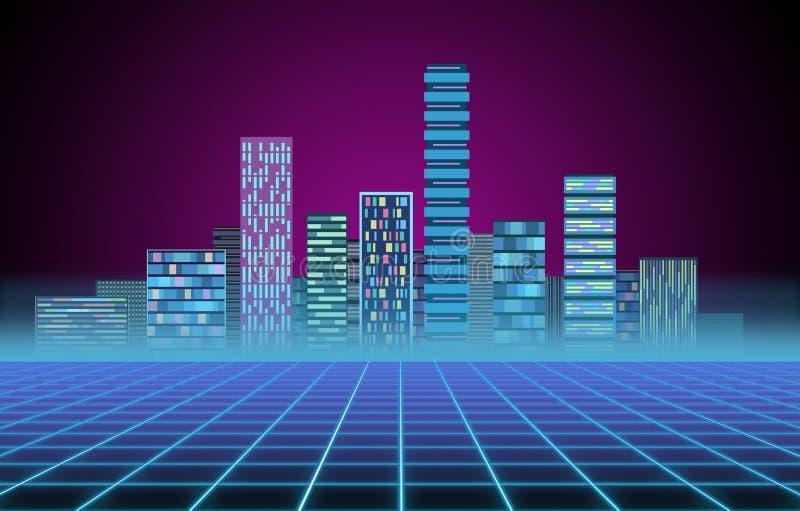 Stads- bakgrund: futuristisk h?gteknologisk stad i neongl?d Synthwave, retrowave, abstrakt metropolis och urinnev?nare stock illustrationer
