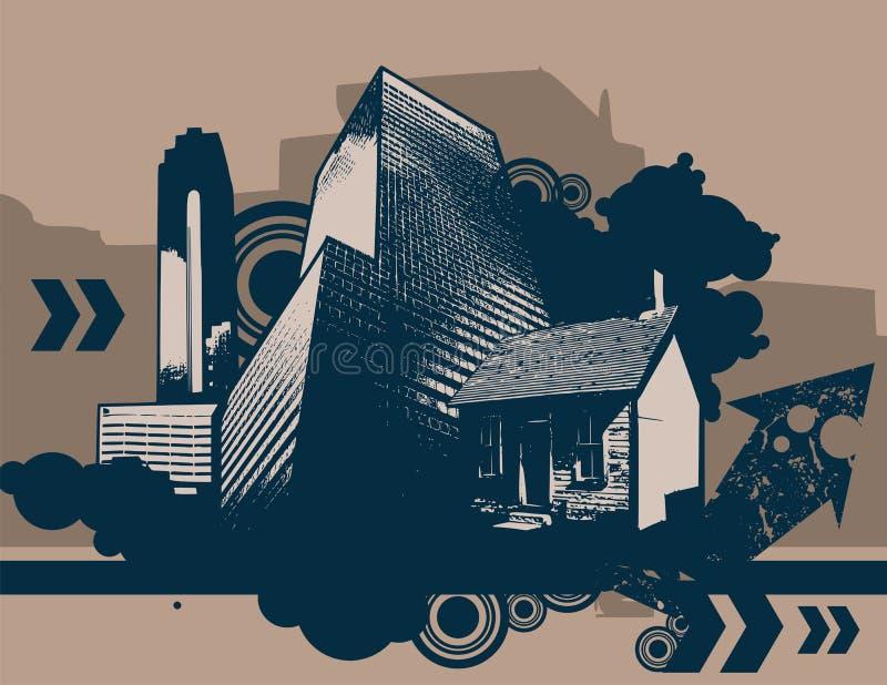 stads- bakgrundsgrunge stock illustrationer