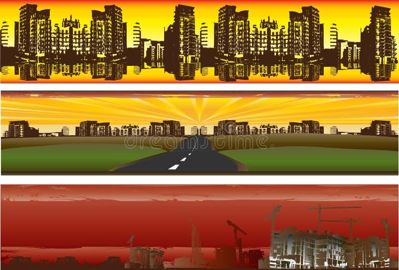 stads- banergrunge stock illustrationer