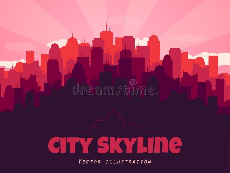 stads- begrepp Kontur av stadshorisont Plan stilstad också vektor för coreldrawillustration vektor illustrationer