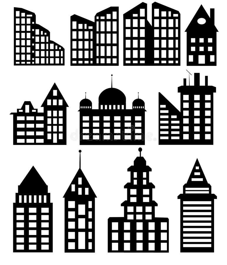 Stads- byggnader på en vit bakgrund royaltyfri illustrationer