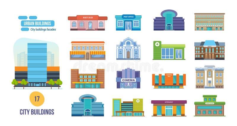 Stads- byggnader: salongen stolpen, bion, skolan, hotell, shoppar, museet, arkiv vektor illustrationer
