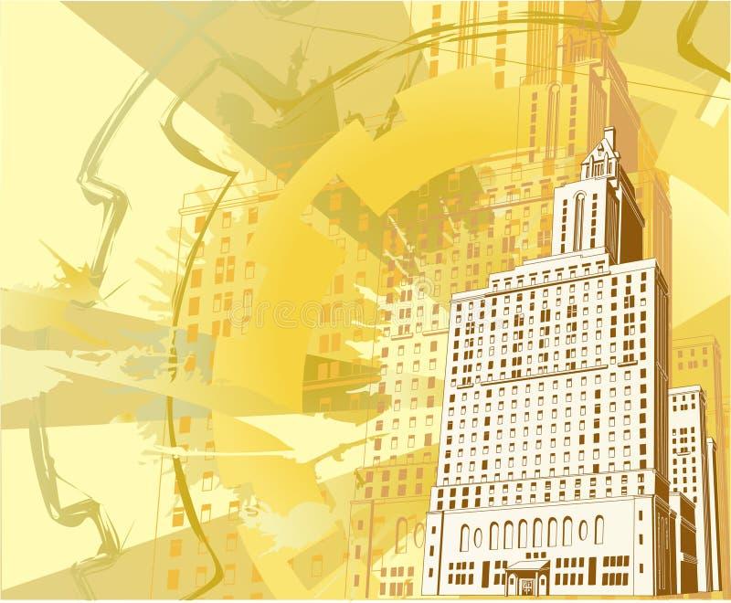 stads- byggnadsgrunge stock illustrationer