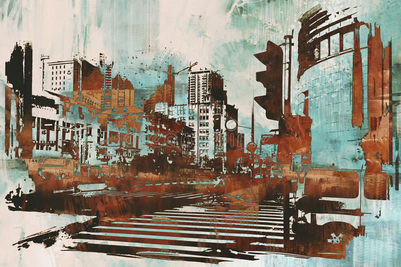Stads- cityscape med abstrakt grunge royaltyfri illustrationer