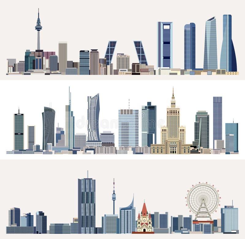 Stads- cityscapes för vektor med skyskrapor vektor illustrationer