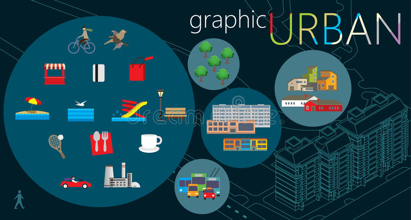 Stads- diagramuppsättning stock illustrationer