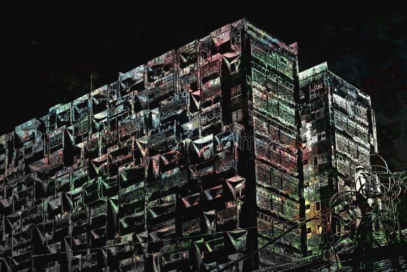 Stads- förfall i tonad monokrom vektor illustrationer