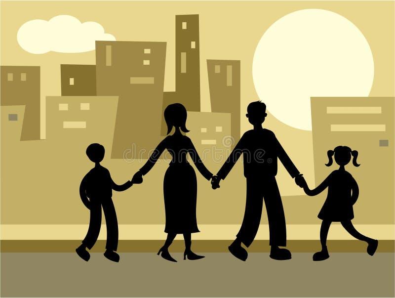 stads- familj vektor illustrationer