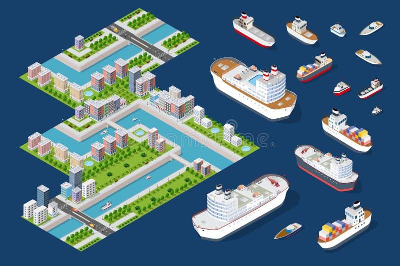Stads- fjärdedelar av staden royaltyfri illustrationer