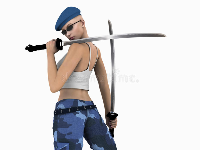 stads- futuristic soldat royaltyfri illustrationer