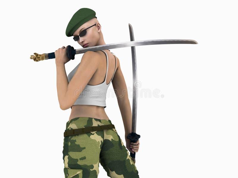stads- futuristic soldat stock illustrationer
