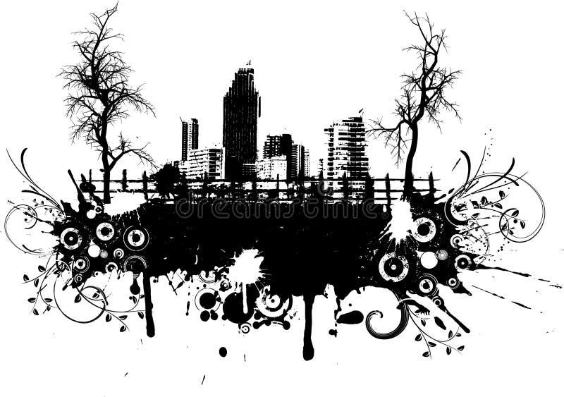 stads- grunge stock illustrationer