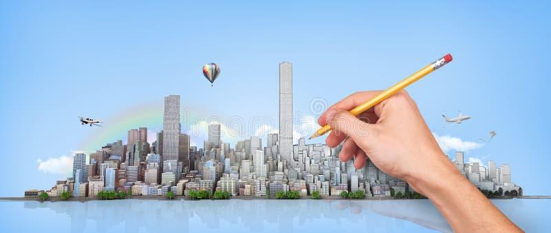 stads- horisont stock illustrationer