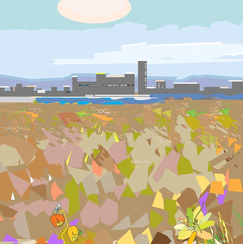 Stads- inhopp stock illustrationer