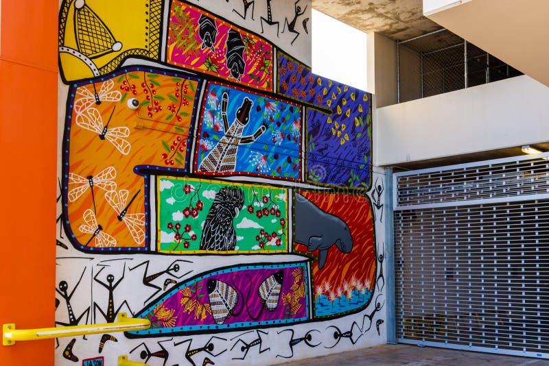 Stads- konst på byggnader - Darwin - Australien arkivfoto