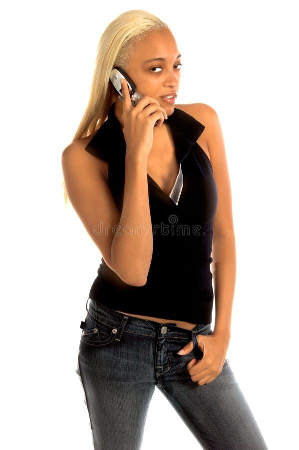 stads- kvinna för celltelefon royaltyfri foto