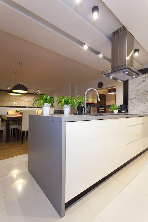 Stads- lägenhet - modernt kök, lodlinje arkivbild