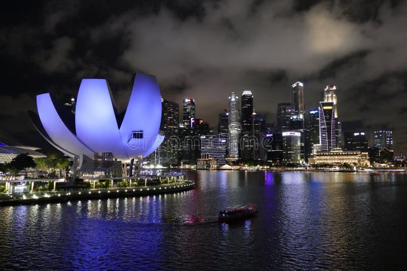 Stads- landskap av Singapore i Marina Bay Area arkivbilder