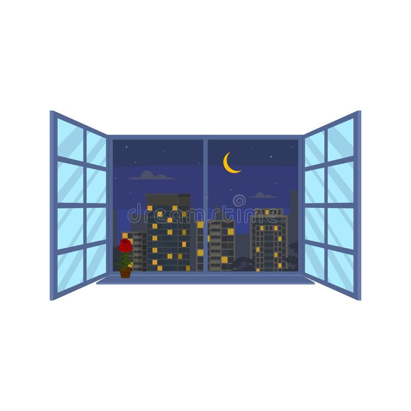 Stads- landskap för nattetid i fönsterplatsbegrepp vektor vektor illustrationer