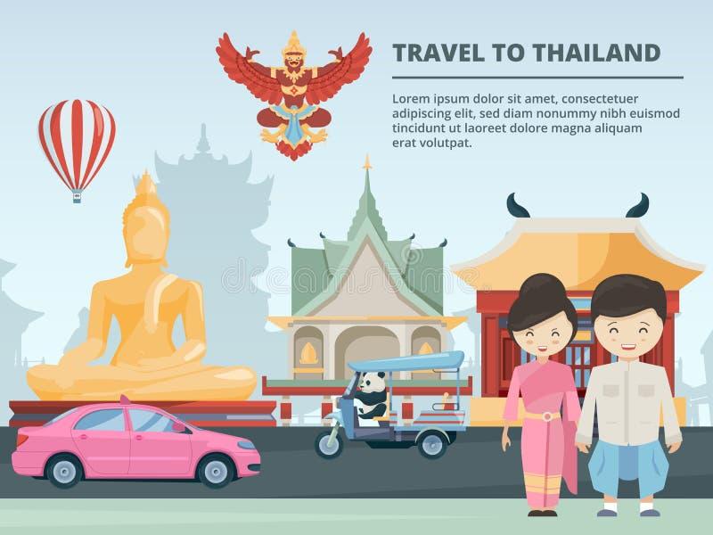 Stads- landskap med byggnader och kulturella gränsmärken av Thailand vektor illustrationer