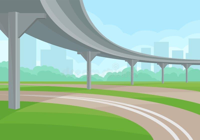 Stads- landskap med planskilda korsningen, väg och grönt gräs, höghus och buskar på bakgrund Plan vektordesign stock illustrationer