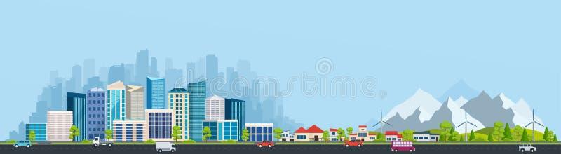 Stads- landskap med stor modern byggnader och förort stock illustrationer
