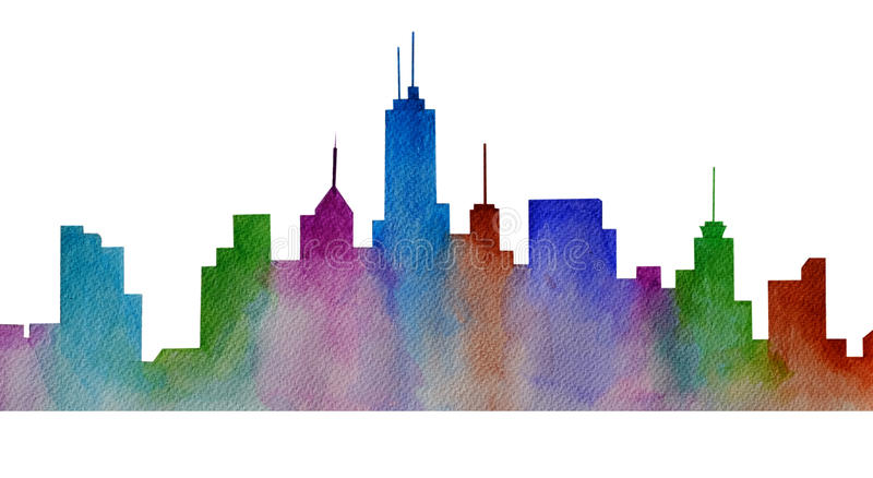 Stads- landskapmålning stock illustrationer