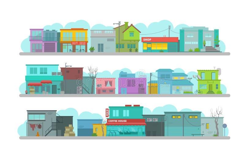 Stads lange straat Reeks gebouwen van de architectuurstad Vlakke vectorgrafiek Heel wat diverse details gelukkige heldere vlakte stock illustratie