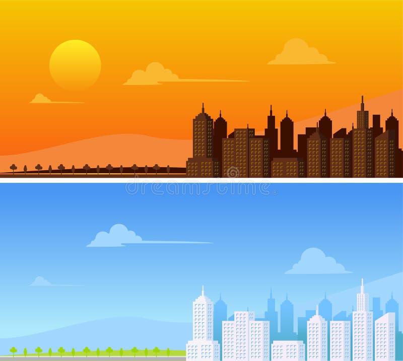 stads- liggande stads- bakgrund vektor illustrationer