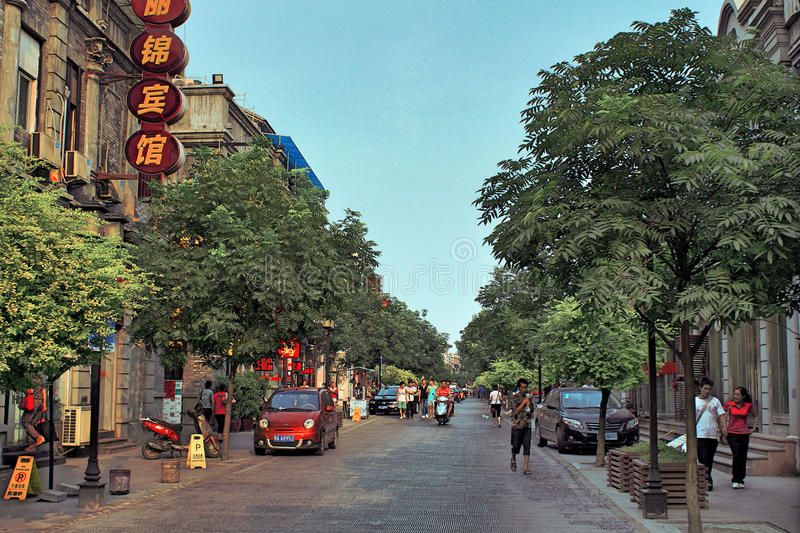 Stads- liv i den Wuhan staden, Kina arkivbilder