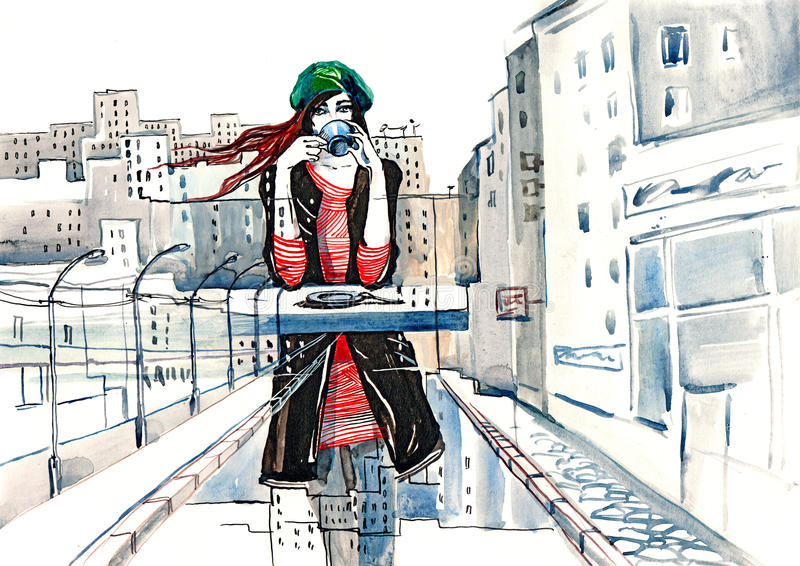 stads- livstid stock illustrationer