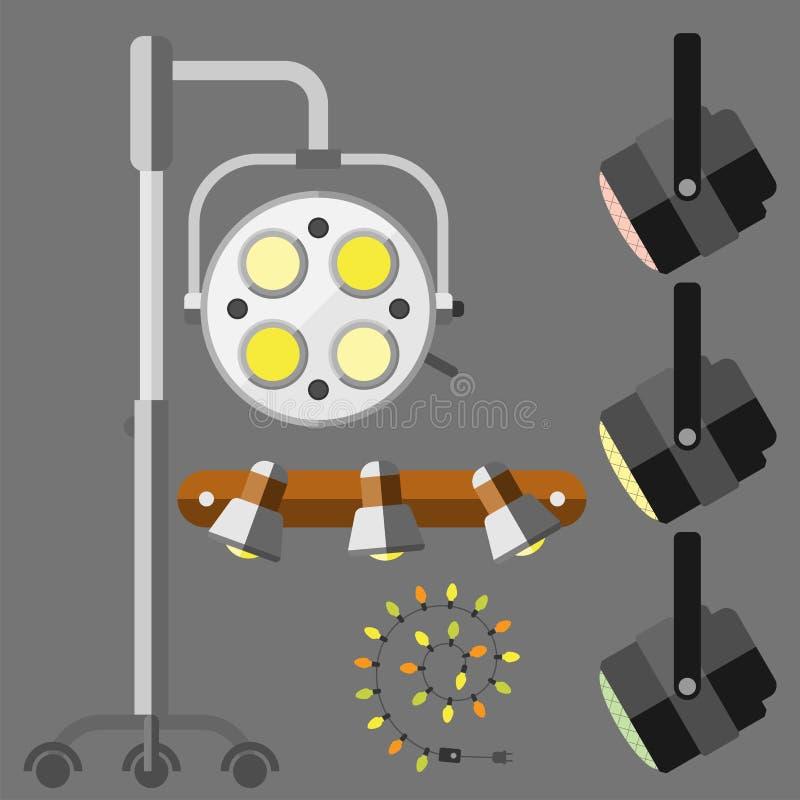 Stads- ljus för plan elektrisk gata för lyktastadslampa som passar vektorn för elektricitet för ljus kula för illuminationsenhets royaltyfri illustrationer