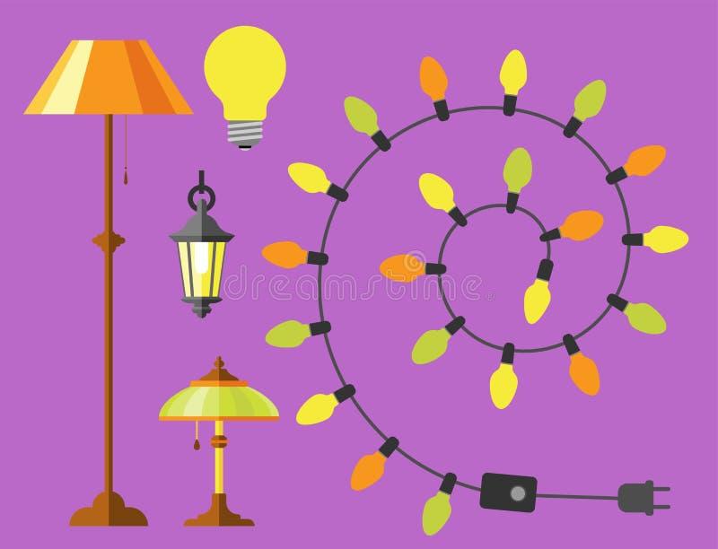 Stads- ljus för plan elektrisk gata för lyktastadslampa som passar vektorn för elektricitet för ljus kula för illuminationsenhets vektor illustrationer