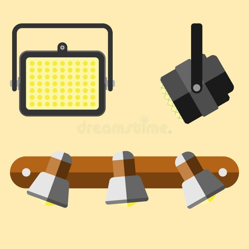 Stads- ljus för plan elektrisk gata för lyktastadslampa som passar vektorn för elektricitet för ljus kula för illuminationsenhets stock illustrationer