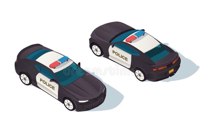 Stads- modern sedanpolisbil för skydd av folk vektor illustrationer