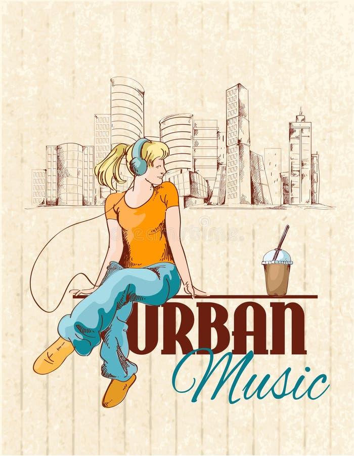Stads- musikaffisch royaltyfri illustrationer