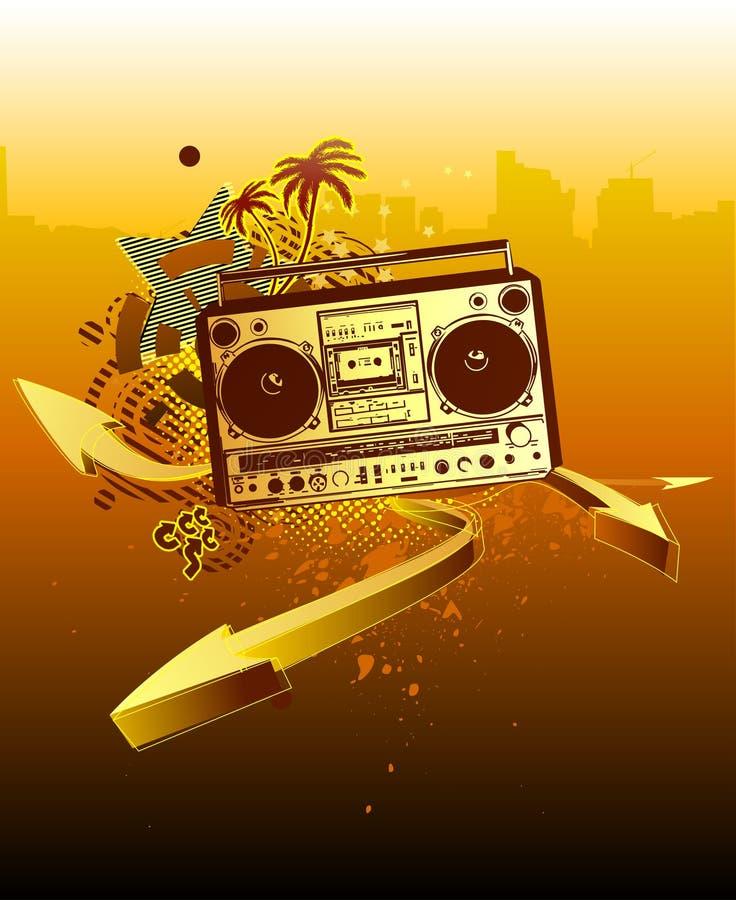 Stads- musikbakgrund stock illustrationer