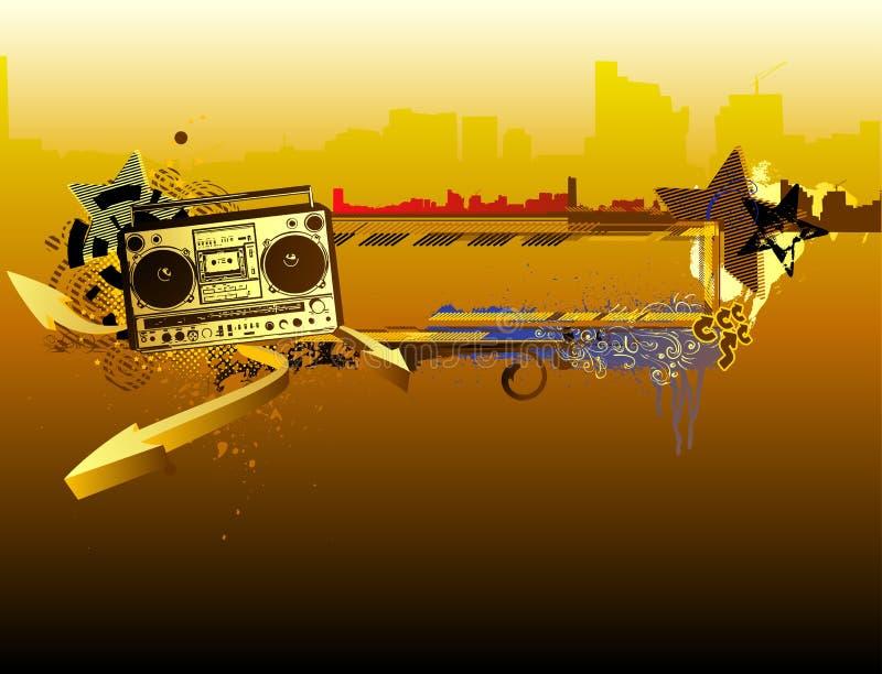 Stads- musikram stock illustrationer