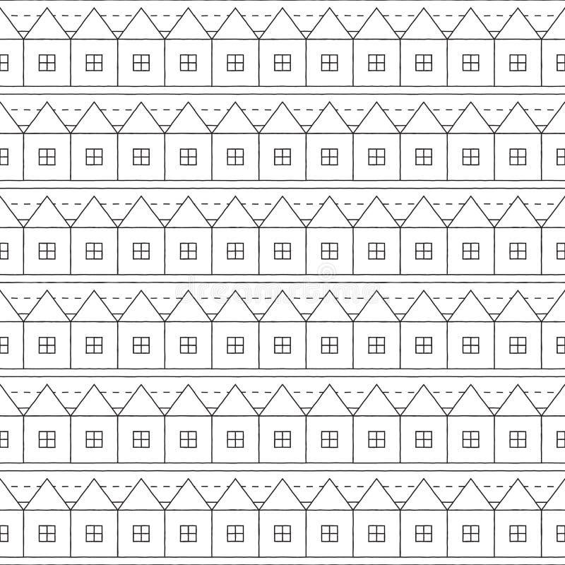 Stads Naadloos Patroon in Zwart-wit stock illustratie