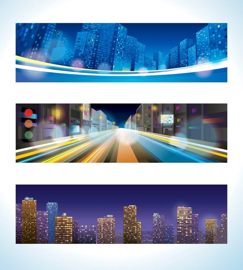 Stads- natt royaltyfri illustrationer